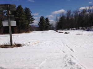 Course conditions 4/7/14 in Molly's Meadow at Finish Line.